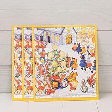 Barnens Adventskalender 2021, ritad av Aina Stenberg MasOlle. Årets kalender är ett nytryck av 1948 års kalender.