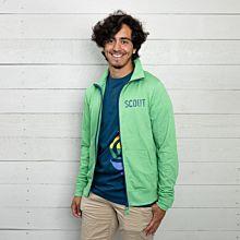 """Scouterna sweatshirt i grön färg med blå text och dragkedja. På vänster bröst står texten """"scout"""""""