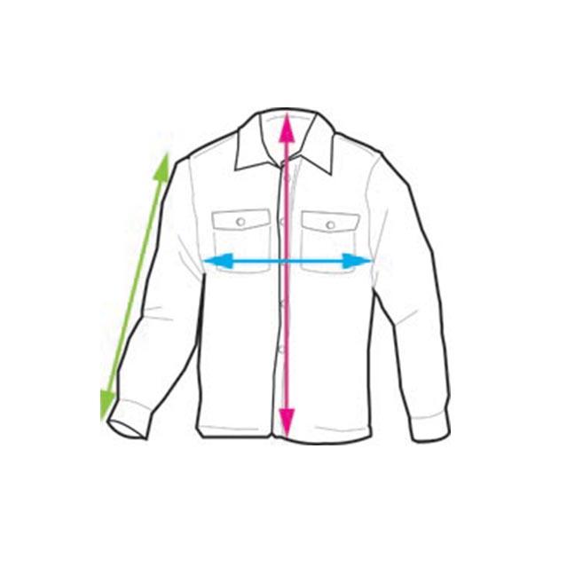 Illustrerad bild på scoutskjortan och hur du ska gå tillväga för att mäta respektive mått